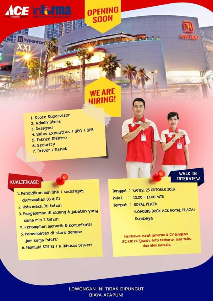 Lowongan Kerja informa royal plaza surabaya
