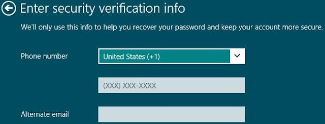 Windows 8, paramètres PC, Entrez les informations de vérification de sécurité. Remplissez les champs requis pour faciliter la récupération du mot de passe dans les cas d'urgence. Cliquez sur Suivant.