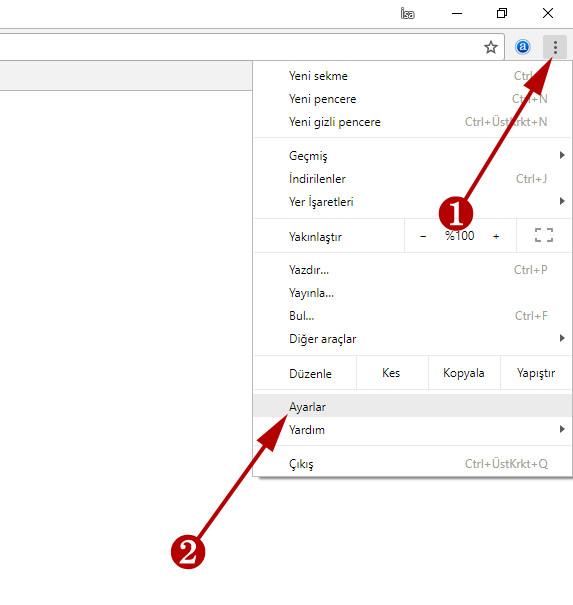 google chrome sıfırlamak için ayarları açın