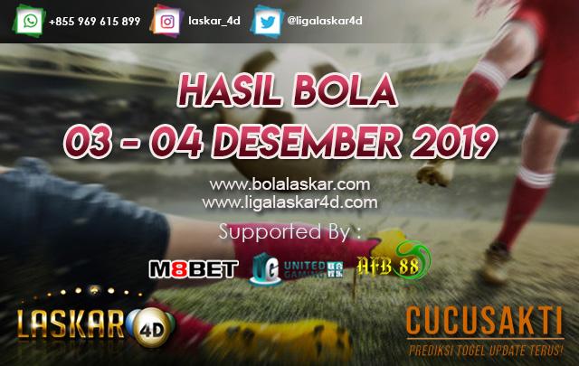 HASIL BOLA JITU TANGGAL  03 – 04 Desember 2019