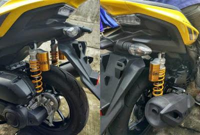 Yamaha Aerox 155 pakai shock belakang ohlins.. ngeri ngeri sedap!