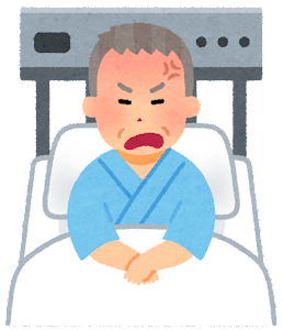 いろいろな表情の入院中の人のイラスト(おじいさん・怒った顔)