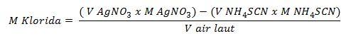 rumus menghitung konsentrasi sampel pada titrasi metode volhard