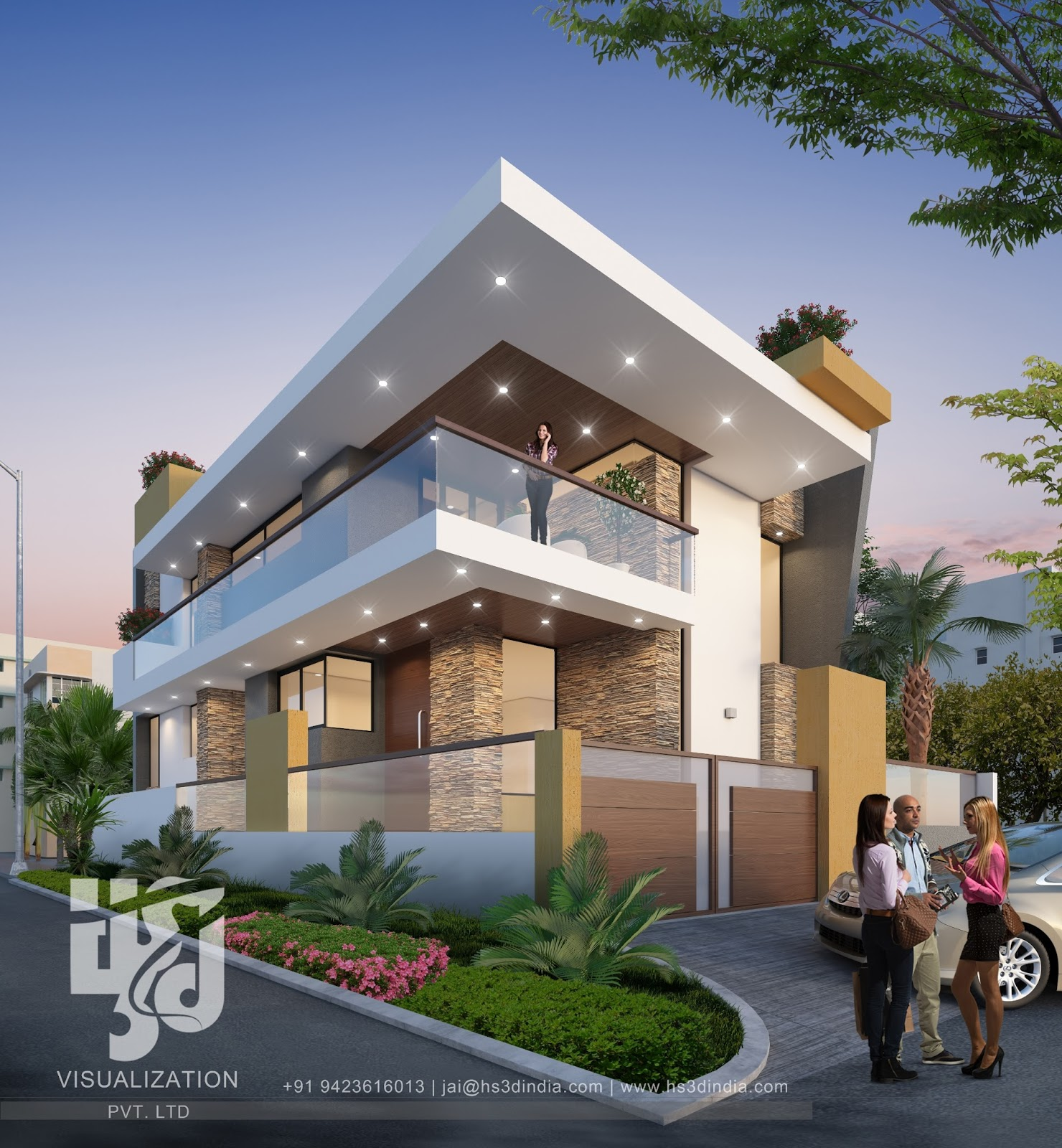 3D MODERN APARTMENT EXTERIOR ELEVATION NIGHT RENDERING