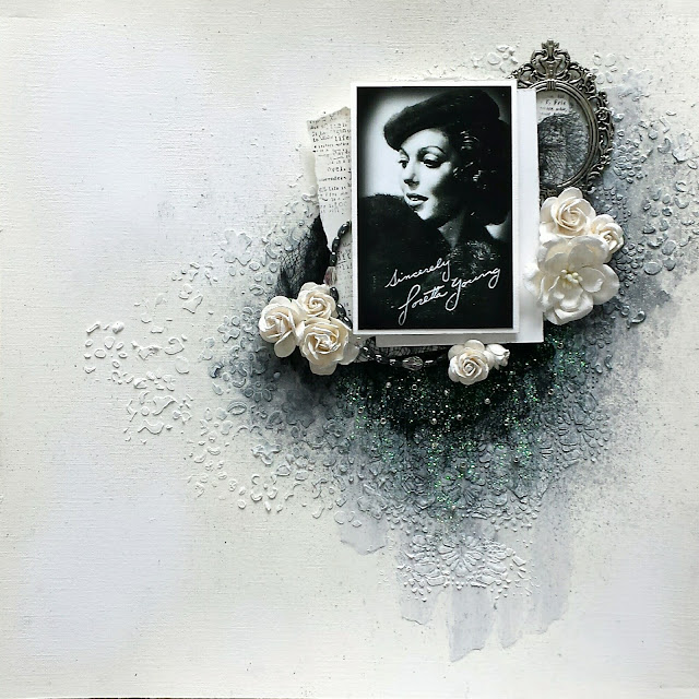 Scrapbook Mixed Media Layout Loretta Young by Jessica McFall