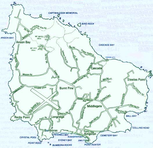 Mapas da Ilha Norfolk | Austrália