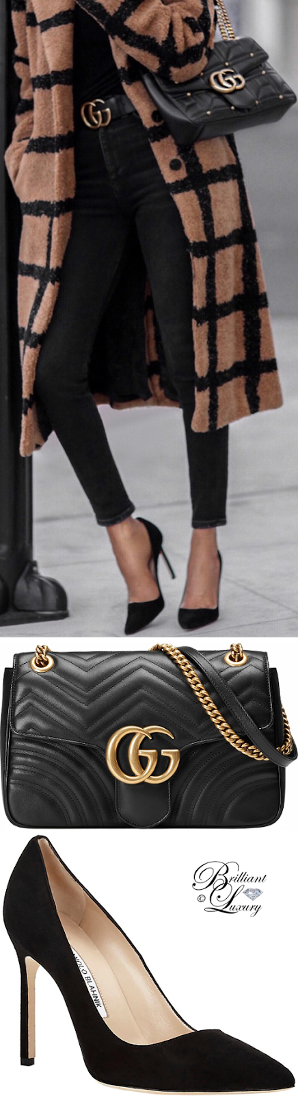 Brilliant Luxury ♦ Gucci Marmont bag and Manolo Blahnik BB pumps #black #streetstyle