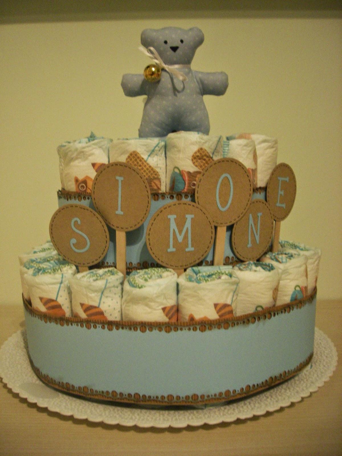Langolo fatato di fef Torte di pannolini in azzurro