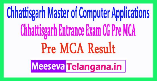 Master of Computer Applications Chhattisgarh Entrance Exam CG Pre MCA Result 2018