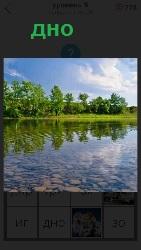 прозрачная вода в реке и хорошо видно каменистое дно
