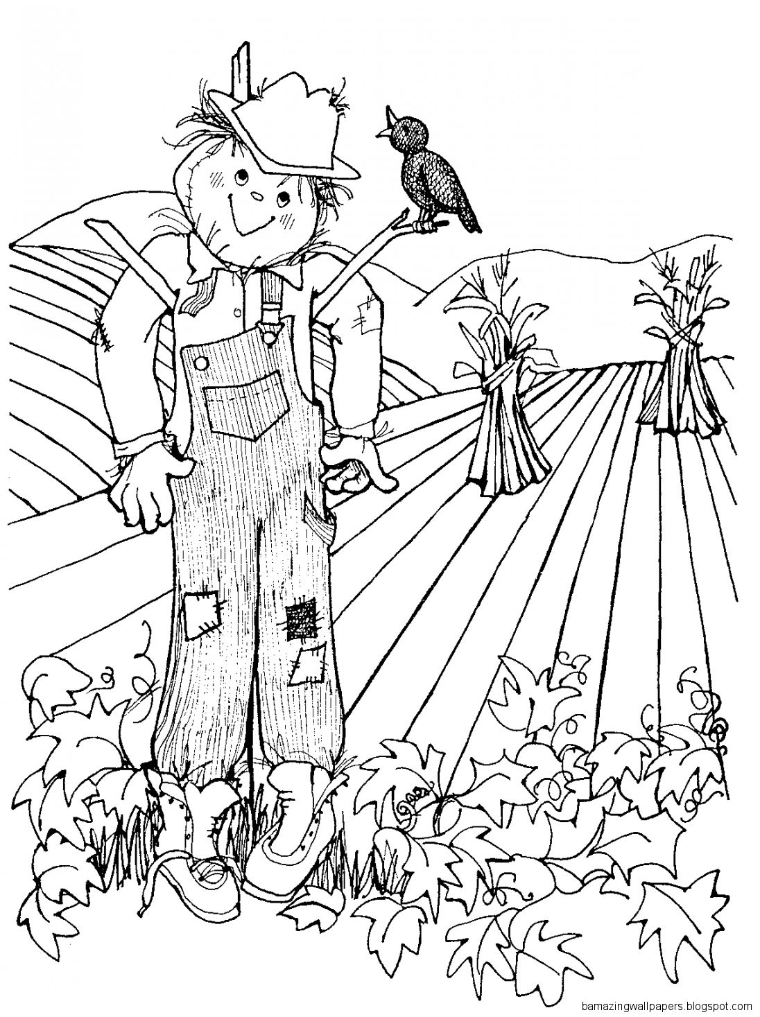 Simple Scarecrow Clip Art Black And White