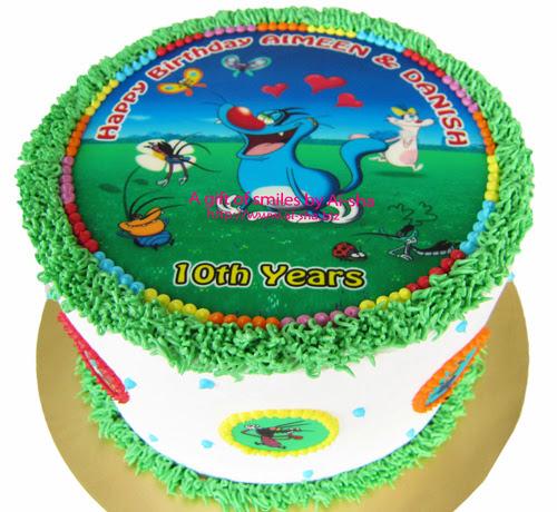 Rainbow Cake Edible Image Oggy And The Cockroaches Aisha