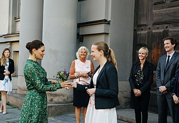 Crown Princess Victoria wore H&M dress from H&M Conscious Exclusive Collection 2018 and the princess wore By Malene Birger Paxilow pumps