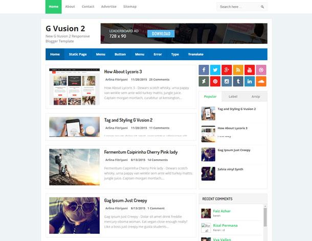 G Vusion 2 Responsive Blogger Template
