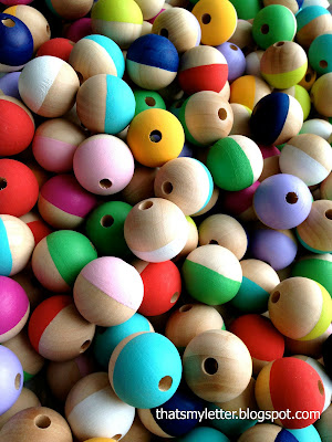painted wood beads for diy necklace