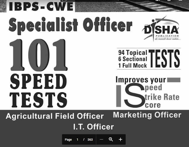 101 Speed Tests for IBPS CWE Bank Specialist Officer Exam