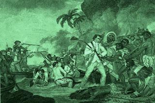 Batalla del capitán Cook con unos indígenas poco hospitalarios.