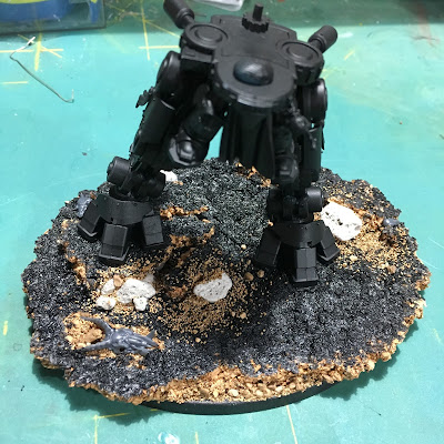 Grand Master in Nemesis Dreadknight WIP Base with dreadknight legs for scale.