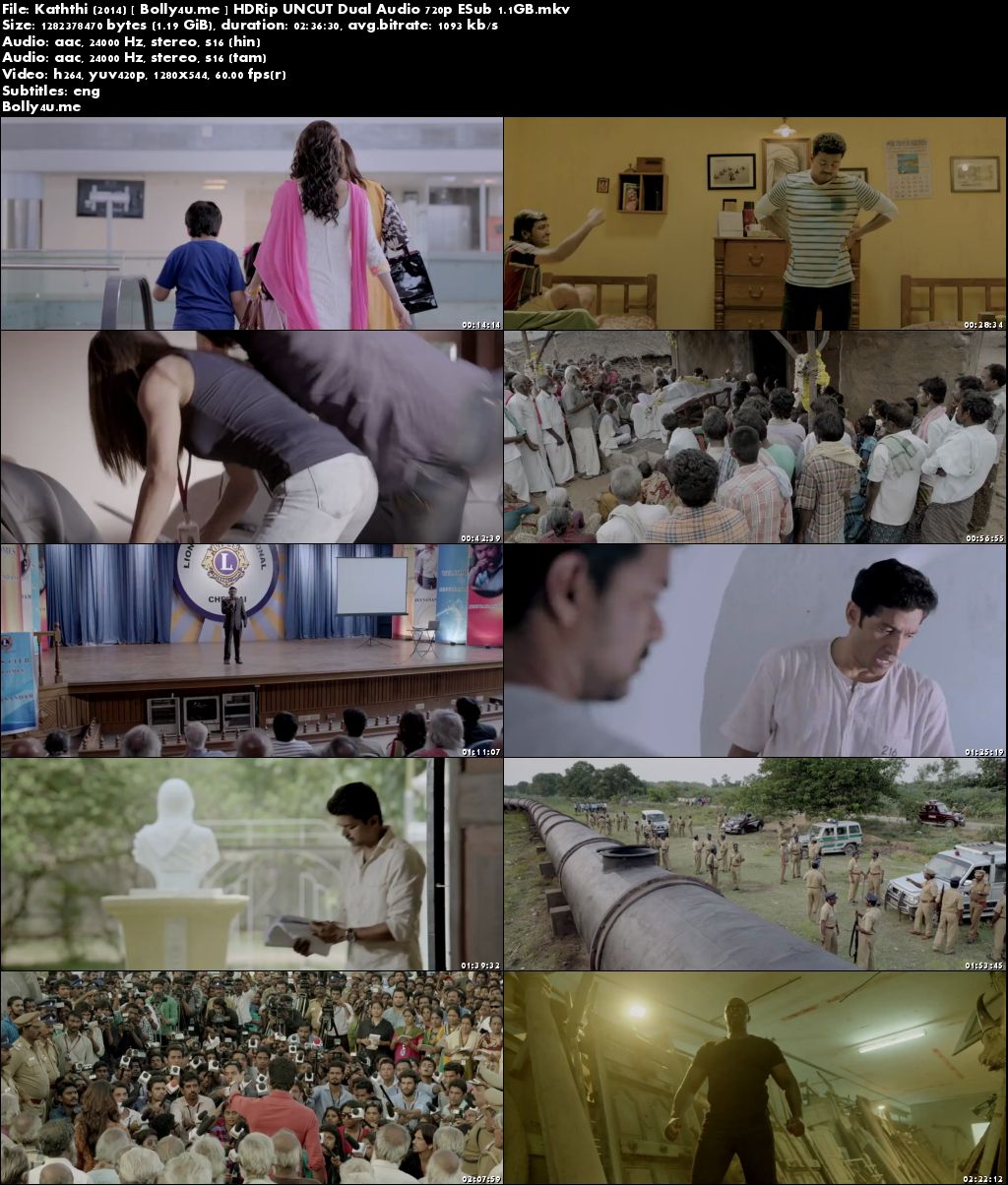 Kaththi 2014 HDRip UNCUT 500Mb Hindi Dual Audio 480p ESub Download