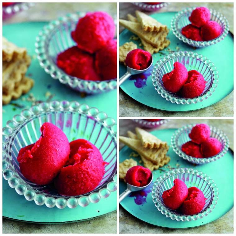 Raspberry Gin Sorbet With Lavender Thins