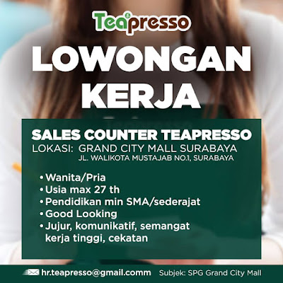 lowongan kerja crew outlet teapresso surabaya