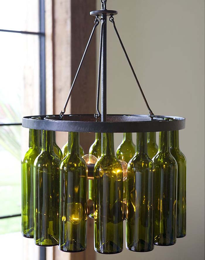 Little Pink Apples Wine Bottle Chandelier