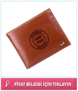 isim yazılı erkek cüzdan kahverengi
