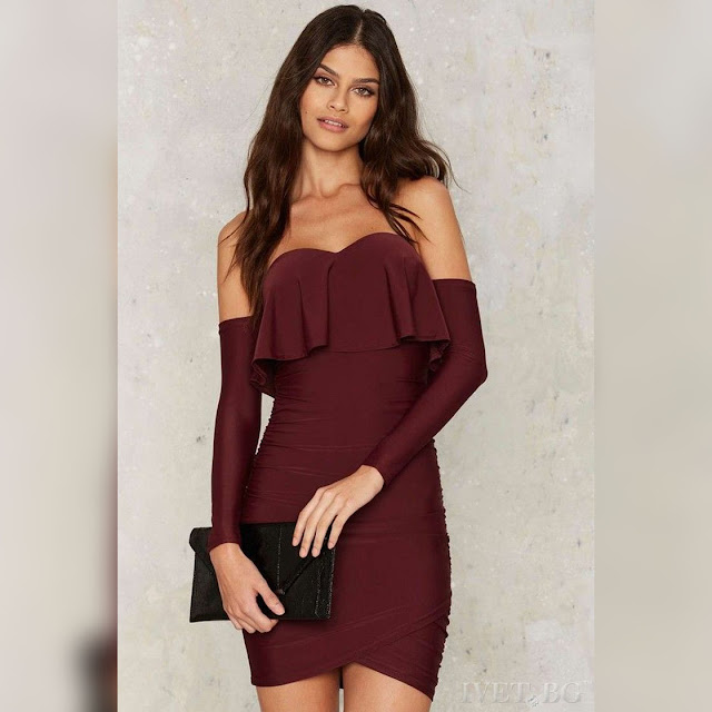 Εντυπωσιακό μπορντό κοντό φόρεμα DELARA