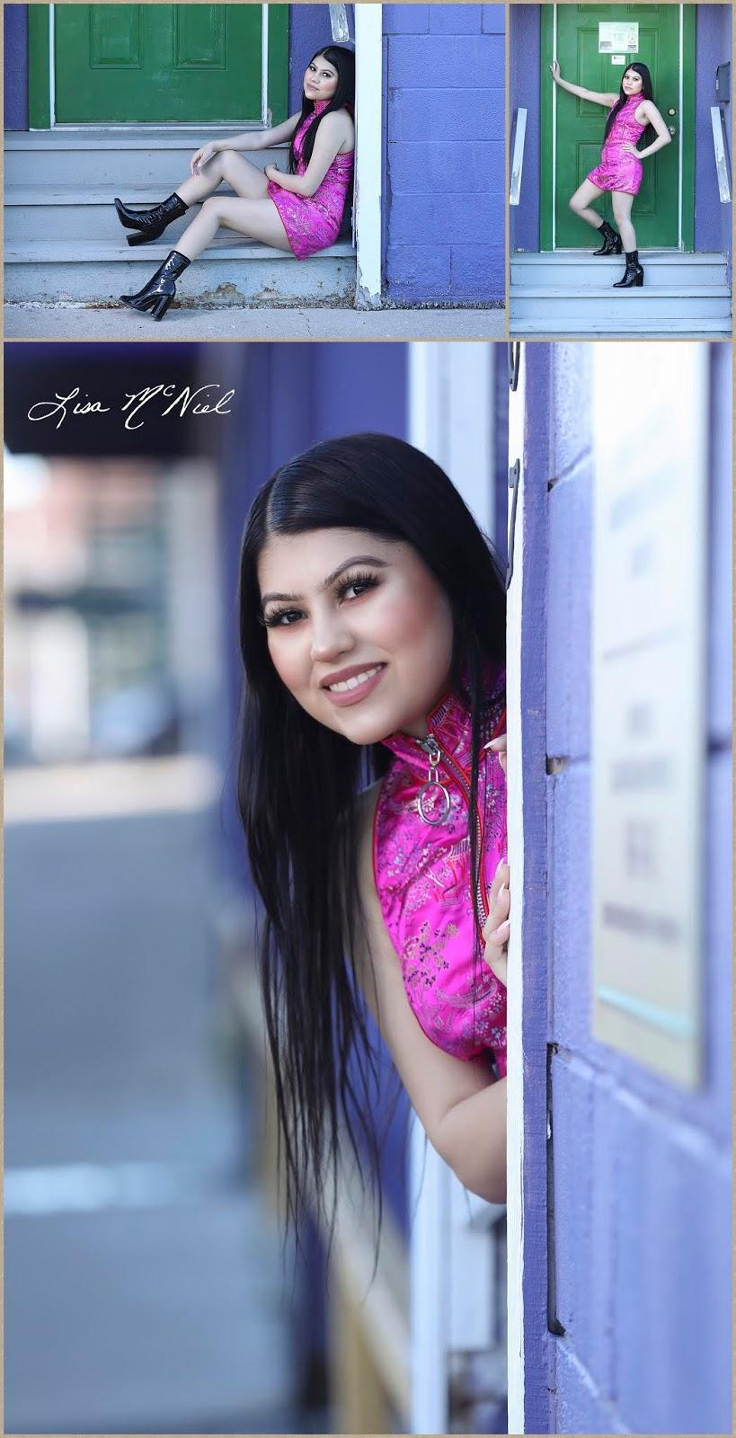 teen girl by purple wall