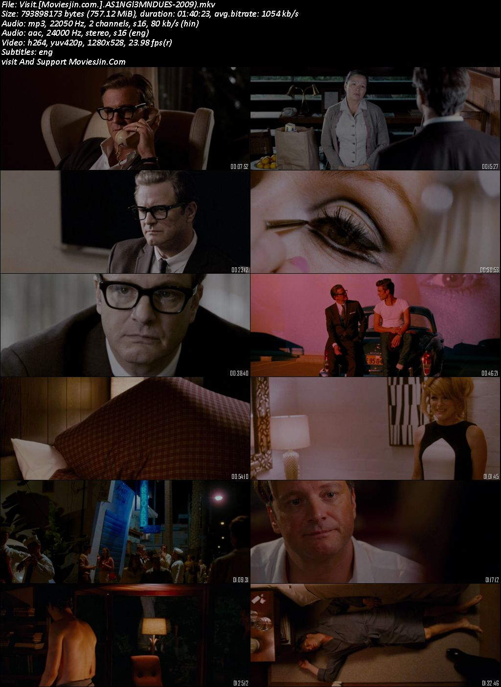 A Single Man 2009 BluRay Hindi Dual Audio 720p Esubs 760MB