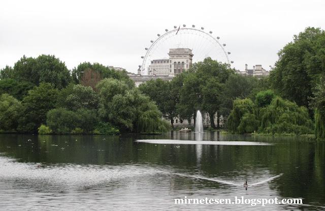 Лондон - вид на Лондонский Глаз из Сент-Джеймсского парка