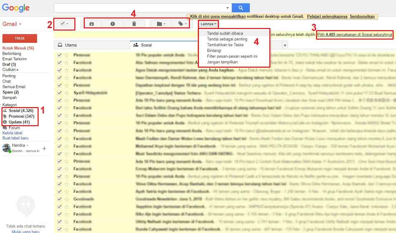 Cara Menandai Ribuan Inbox Gmail Sekaligus