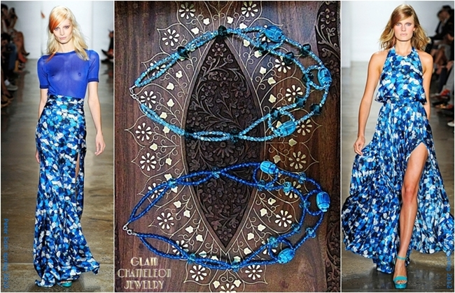 Glam Chameleon Jewelry blue scarab blue beads blue crystalsl necklace