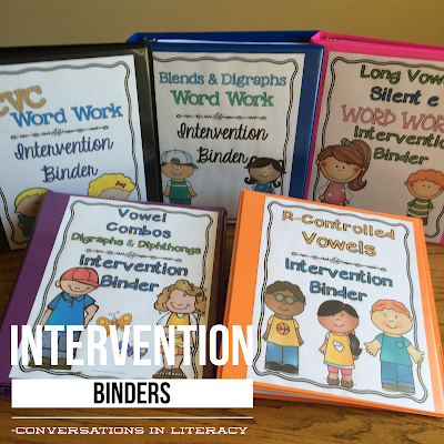 Using Word Work Intervention Phonics Binders for RTI Interventions, guided reading and word work stations