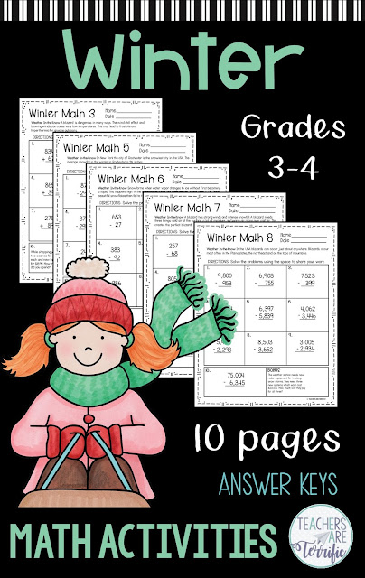 Keep elementary students engaged during the long winter months with winter themed math sheets. Perfect for early finishers of sub days!  #Math #elementary