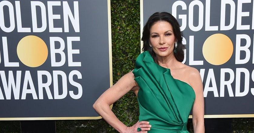 c4cd0e8d433 Catherine Zeta Jones smoulders in emerald at the 2019 Golden Globes
