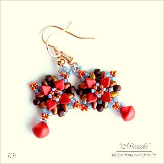 earrings with dragon scale beads, kolczyki z koralikam dragon scales
