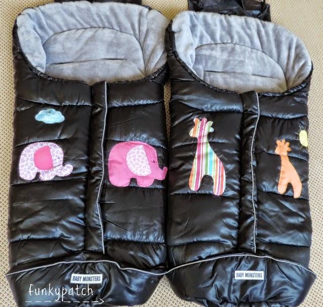 Saquito para silla de paseo personalizado con aplicaciones a mano