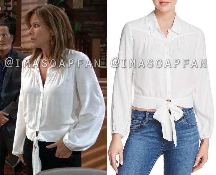 Alexis Davis, Nancy Lee Grahn, Shirred White Shirt with Tie Front, General Hospital, GH