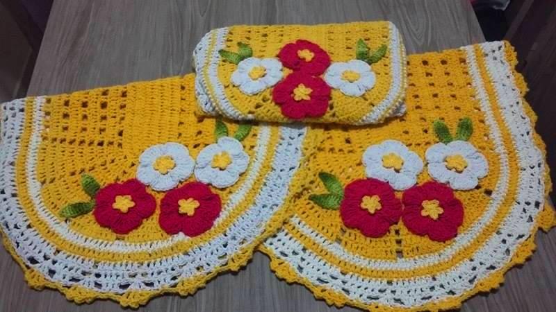 Noeli Croche e Ponto Cruz 2 Jogo de tapete para banheiro em crochê -> Croche Banheiro Simples