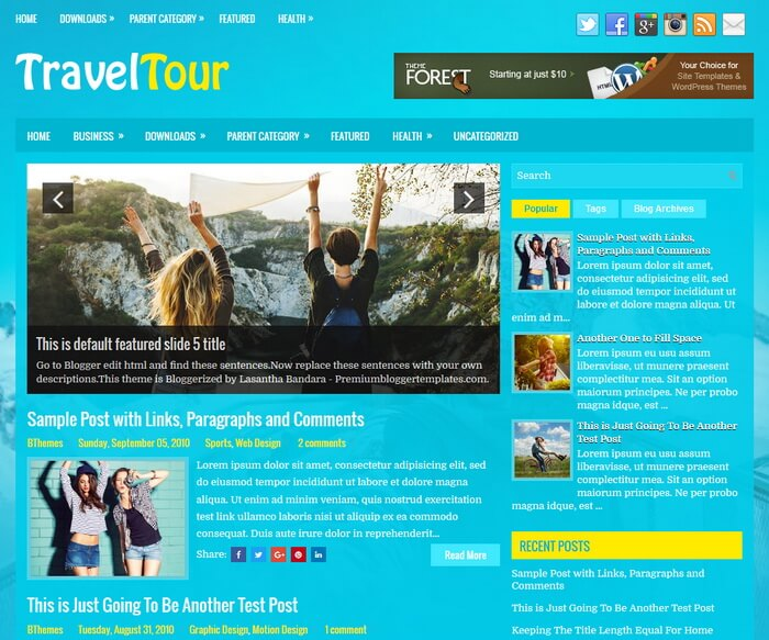 TravelTour Blogger Template