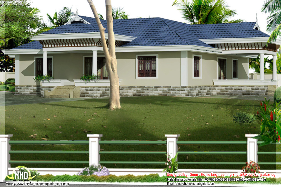 Kerala style single story 3 bed room villa with nadumuttam for Kerala style single storey house plans
