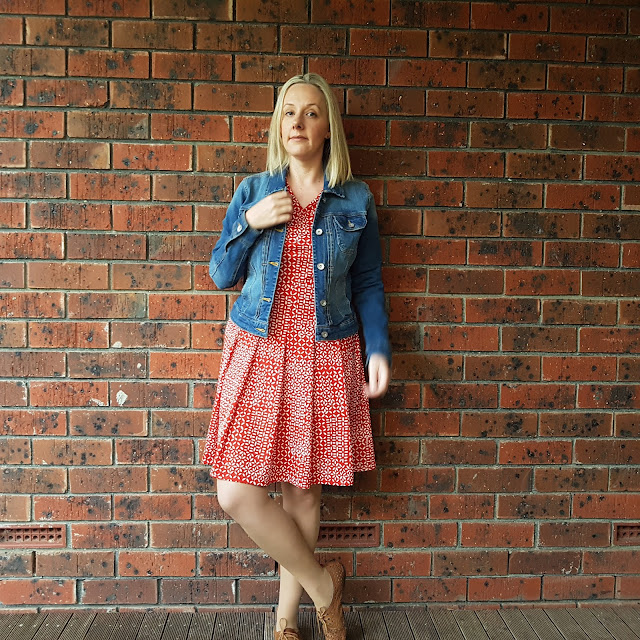 vintage dress, denim jacket | Almost Posh