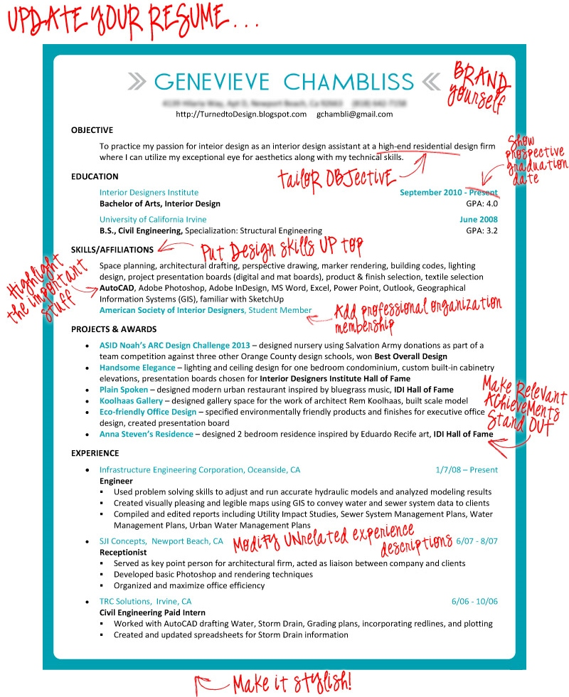 Turned to Design Taking the Plunge Revamping the Resume for