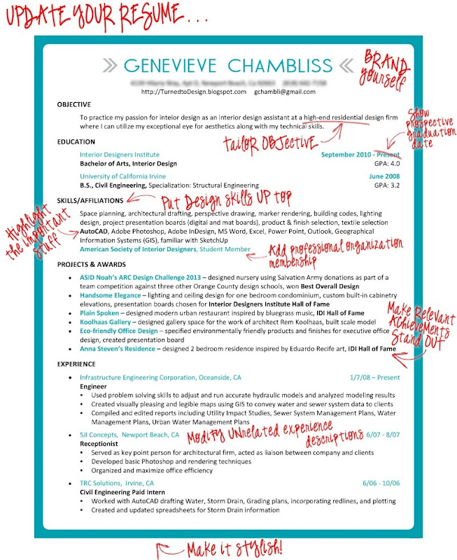 turned to design  taking the plunge  revamping the resume