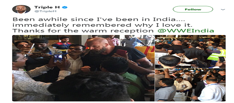 Former WWE Champion Triple H Arrive In India Tour
