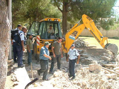 Tractor at work on Temple Mount