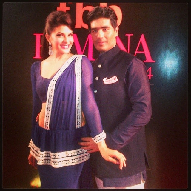 thank you manish malhotra , for the kandyan sari!!!! in love 😍,  Jacqueline Fernandez Hot Pics from Events in Sexy Dresses