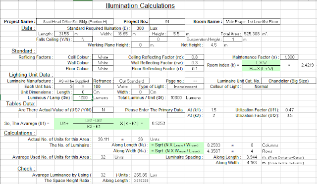 Lighting Calculations Excel Sheet - Free Download