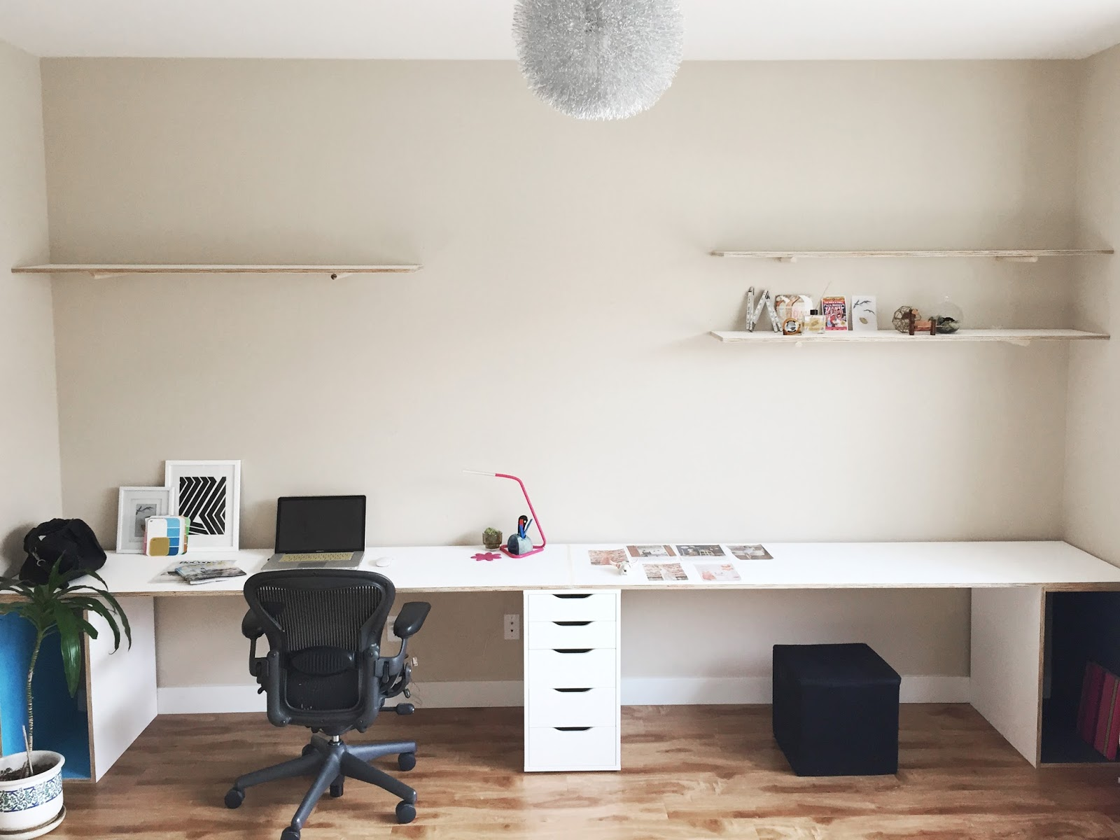 Built Ins Plywood Desk With Storage Ikea Hack